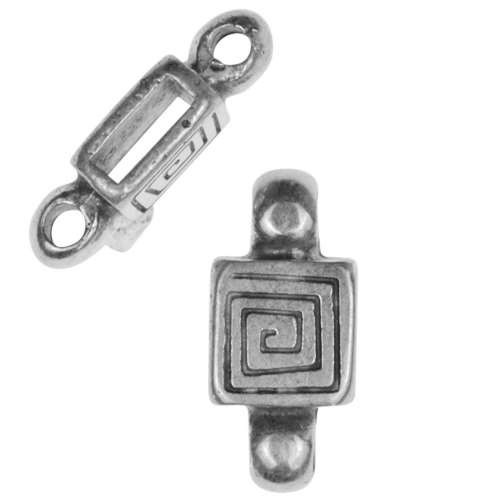 5mm Mini Spiral Square Charm Holder Flat Leather Cord Slider - Antique Silver