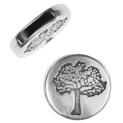 10mm Tree of Life Flat Leather Cord Slider - Antique Silver