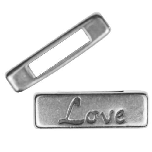 10mm LOVE Bar Flat Leather Cord Slider - Antique Silver