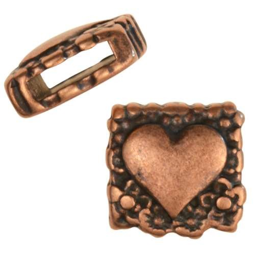 10mm Decorative Heart Flat Leather Cord Slider - Antique Copper