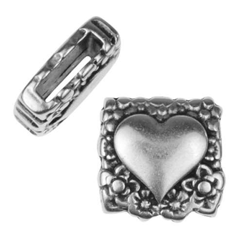 10mm Decorative Heart Flat Leather Cord Slider - Antique Silver