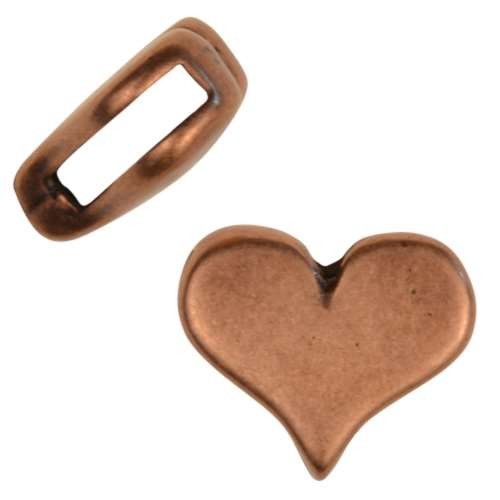 10mm Classic Heart Flat Leather Cord Slider - Antique Copper