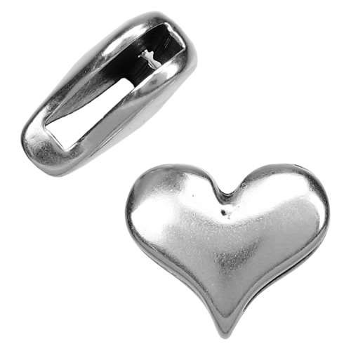 10mm Classic Heart Flat Leather Cord Slider - Antique Silver