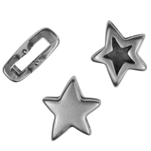 10mm Double Sided Star Flat Leather Cord Slider - Antique Silver