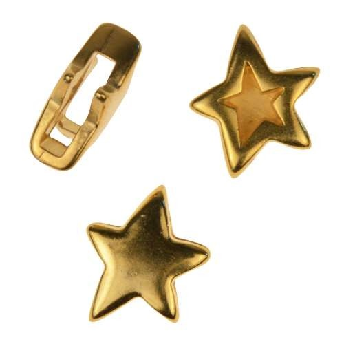 10mm Double Sided Star Flat Leather Cord Slider - Gold Plated