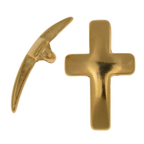 10mm Curved Cross Flat Leather Cord Slider - Gold Plated
