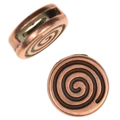 10mm Coil Flat Leather Cord Slider - Antique Copper