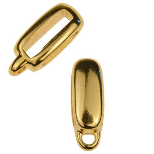 10mm Charm Holder Flat Leather Cord Slider - Gold Plated