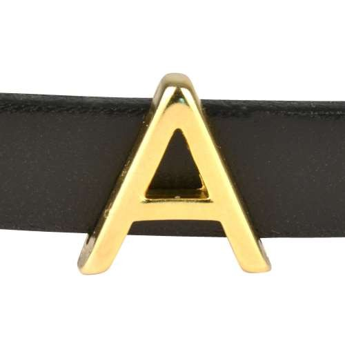 10mm A or ALPHA Letter Flat Leather Cord Slider - Gold Plated