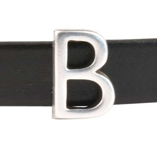 10mm B or BETA Letter Flat Leather Cord Slider - Antique Silver