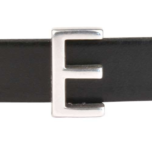 10mm E or EPSILON Letter Flat Leather Cord Slider - Antique Silver