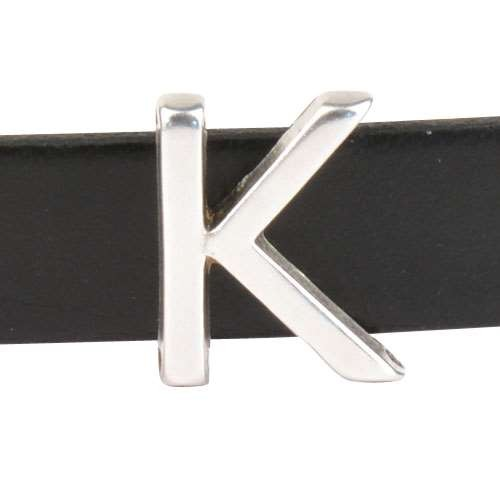 10mm K or KAPPA Letter Flat Leather Cord Slider - Antique Silver