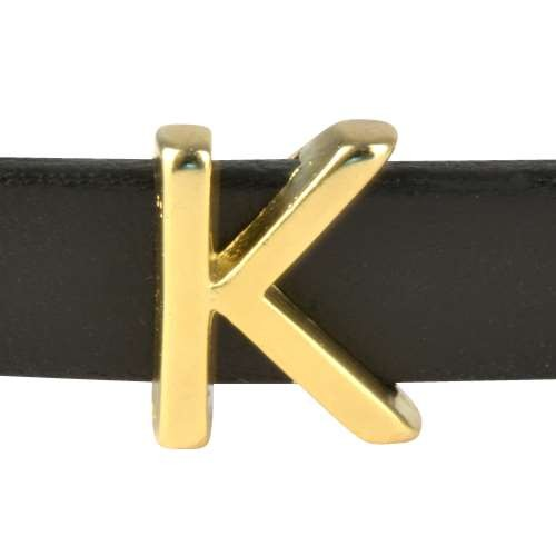 10mm K or KAPPA Letter Flat Leather Cord Slider - Gold Plated