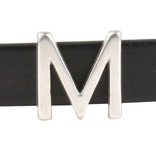 10mm M or MU Letter Flat Leather Cord Slider - Antique Silver