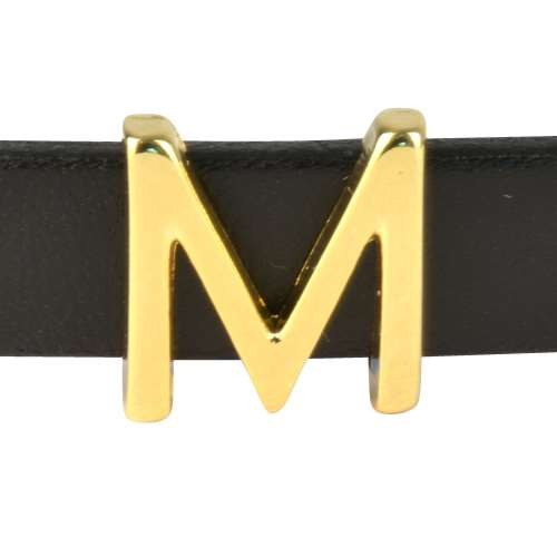 10mm M or MU Letter Flat Leather Cord Slider - Gold Plated