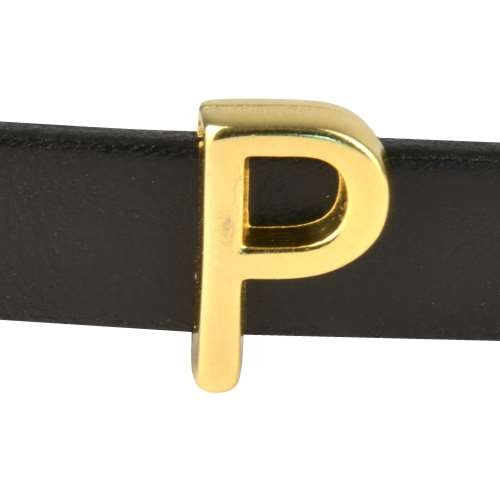 10mm P or RHO Letter Flat Leather Cord Slider - Gold Plated