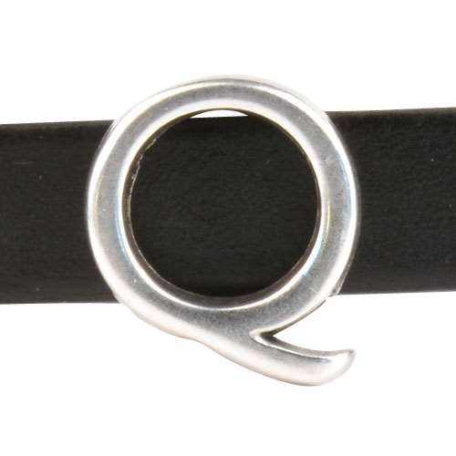 10mm Q Letter Flat Leather Cord Slider - Antique Silver