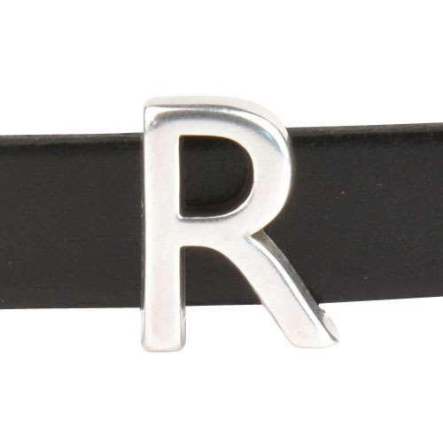 10mm R Letter Flat Leather Cord Slider - Antique Silver