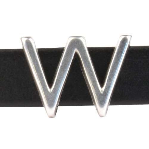 10mm W Letter Flat Leather Cord Slider - Antique Silver