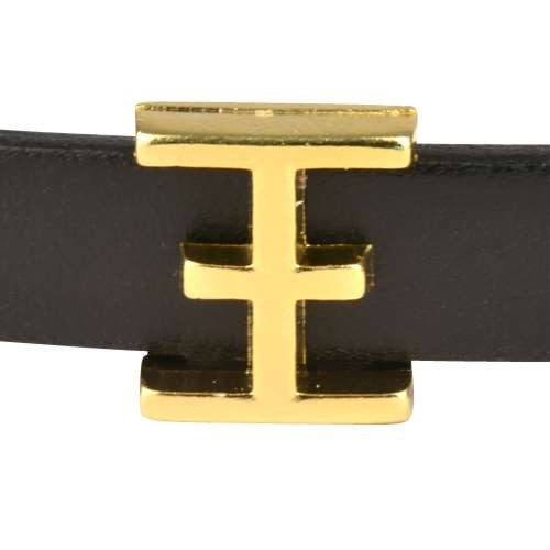 10mm XI Greek Letter Flat Leather Cord Slider - Gold Plated