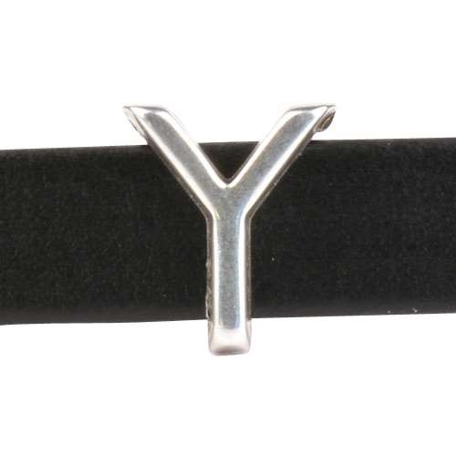 10mm Y or UPSILON Letter Flat Leather Cord Slider - Antique Silver
