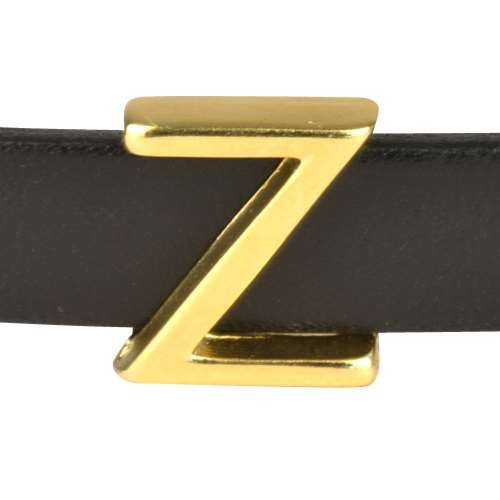 10mm Z or ZETA Letter Flat Leather Cord Slider - Gold Plated