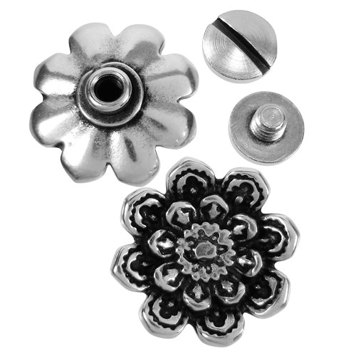 Lotus Flower Screw Rivet Set - Antique Silver