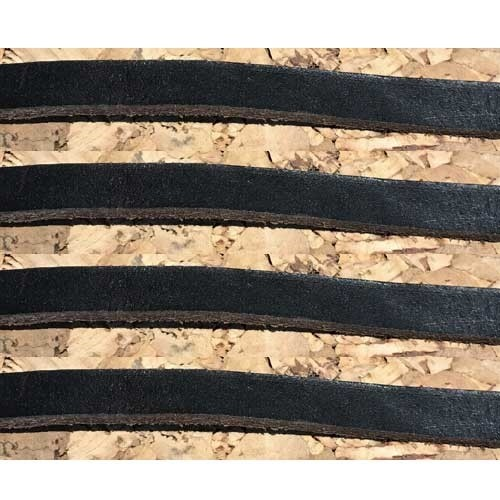 Pre-cut Flat Leather Strips - Black