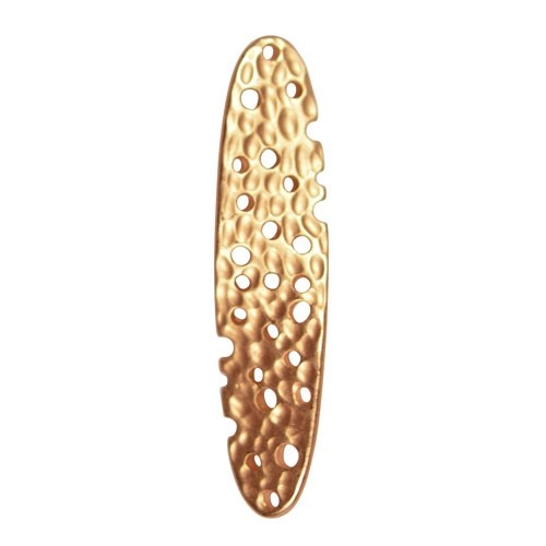 35mm Textured Multi-Hole Twisted Pendant / Link - Satin Hamilton Gold