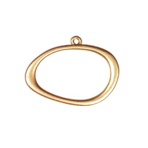 25mm Offset Oval Pendant - Satin Hamilton Gold