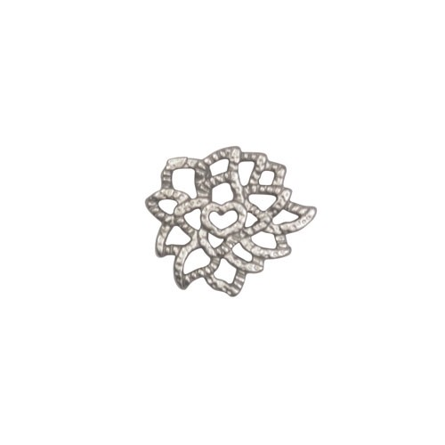 13mm Lacy Flower Pendant / Link - Antique Silver