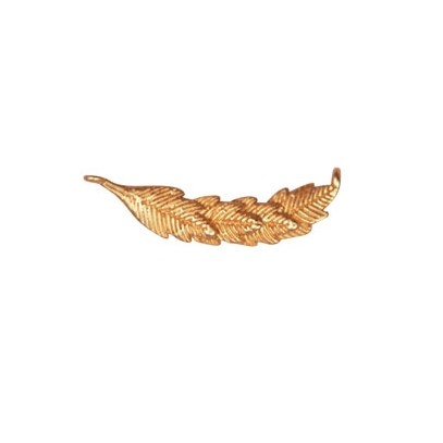 24mm Curved Leaf Pendant / Link - Satin Hamilton Gold
