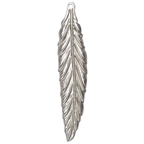 57mm Feather Pendant - Antique Silver
