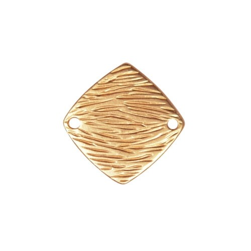 20mm Textured Square Pendant / Link - Satin Hamilton Gold