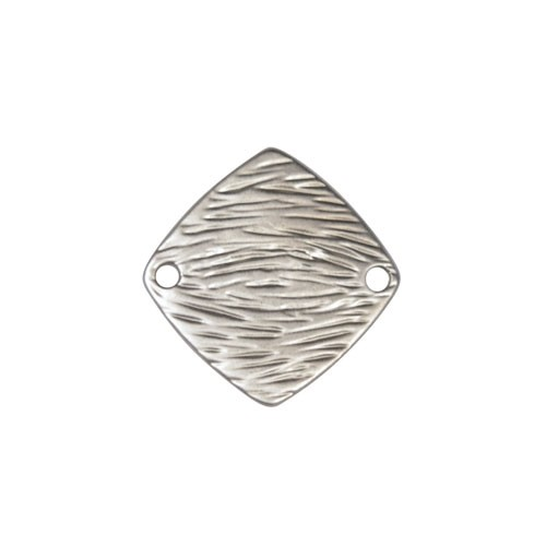 20mm Textured Square Pendant / Link - Antique Silver