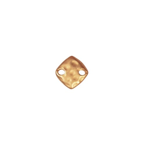 9mm Hammered Square Drop / Link - Satin Hamilton Gold