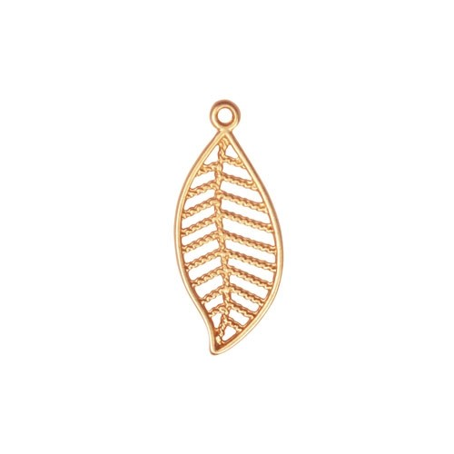 27mm Leaf Pendant / Drop - Satin Hamilton Gold