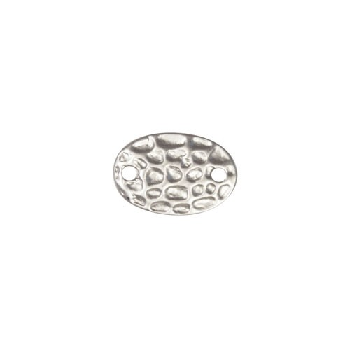 17mm Oval Hammered Pendant / Link - Antique Silver