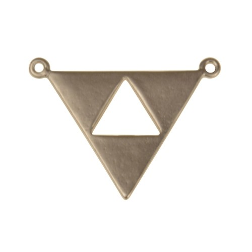 21mm Open Triangle Pendant / Link - Antique Silver
