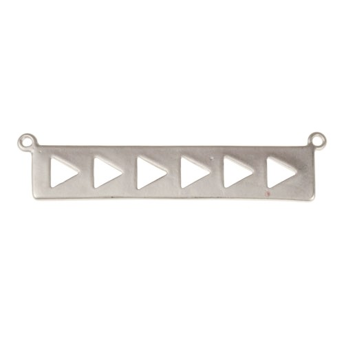 39mm Multi Cutout Triangles Bar Pendant / Link - Antique Silver