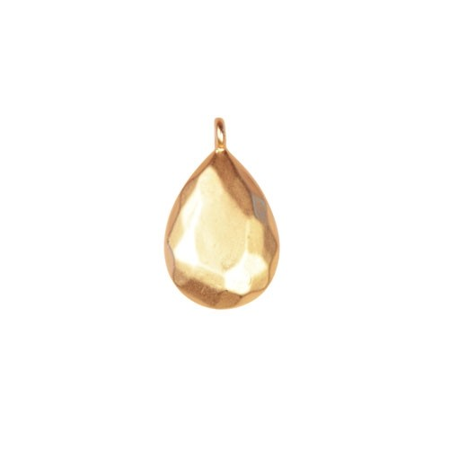 20mm Beveled Teardrop Pendant - Satin Hamilton Gold