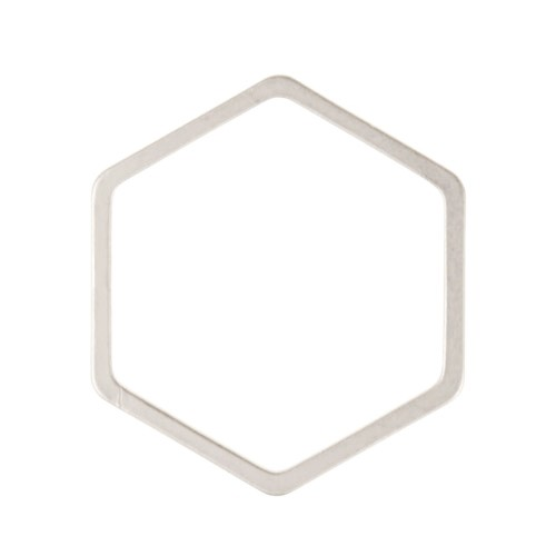 18mm Hexagon Pendant / Link - Antique Silver