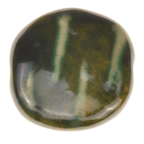 Kazuri Pita Pat Tiger Stripes Ceramic Bead - Festive Green / Pearl Green