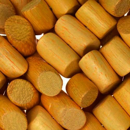 Jackfruit (Nangka) Wood Bead Tube Side Cut 8x15mm - strand