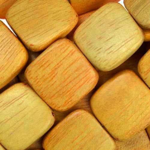 Jackfruit (Nangka) Wood Bead Flat Square 16mm - strand