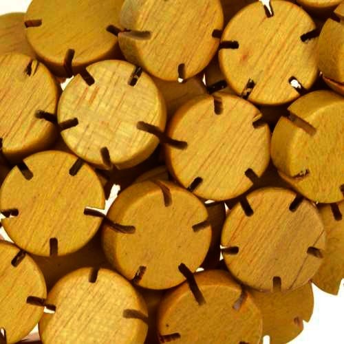 Jackfruit (Nangka) Wood Bead Flower 12x5mm - strand