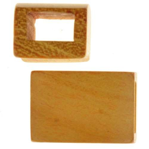 Jackfruit Wood Slide Large Hole Rectangle 20x12mm - piece