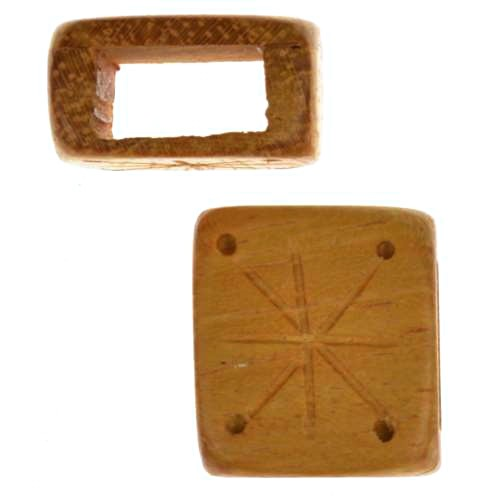 Jackfruit Wood Slide Large Hole Square Star / Dots 14mm - piece
