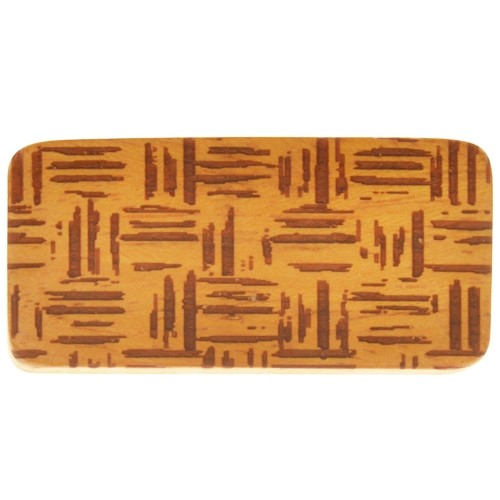 10mm Crosshatch Lillypilly Design Flat Leather Cord Wood Slider - Jackfruit Wood