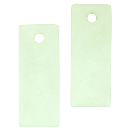 Cultured Sea Glass Bottle-Curved Rectangle Thin (2) - Peridot
